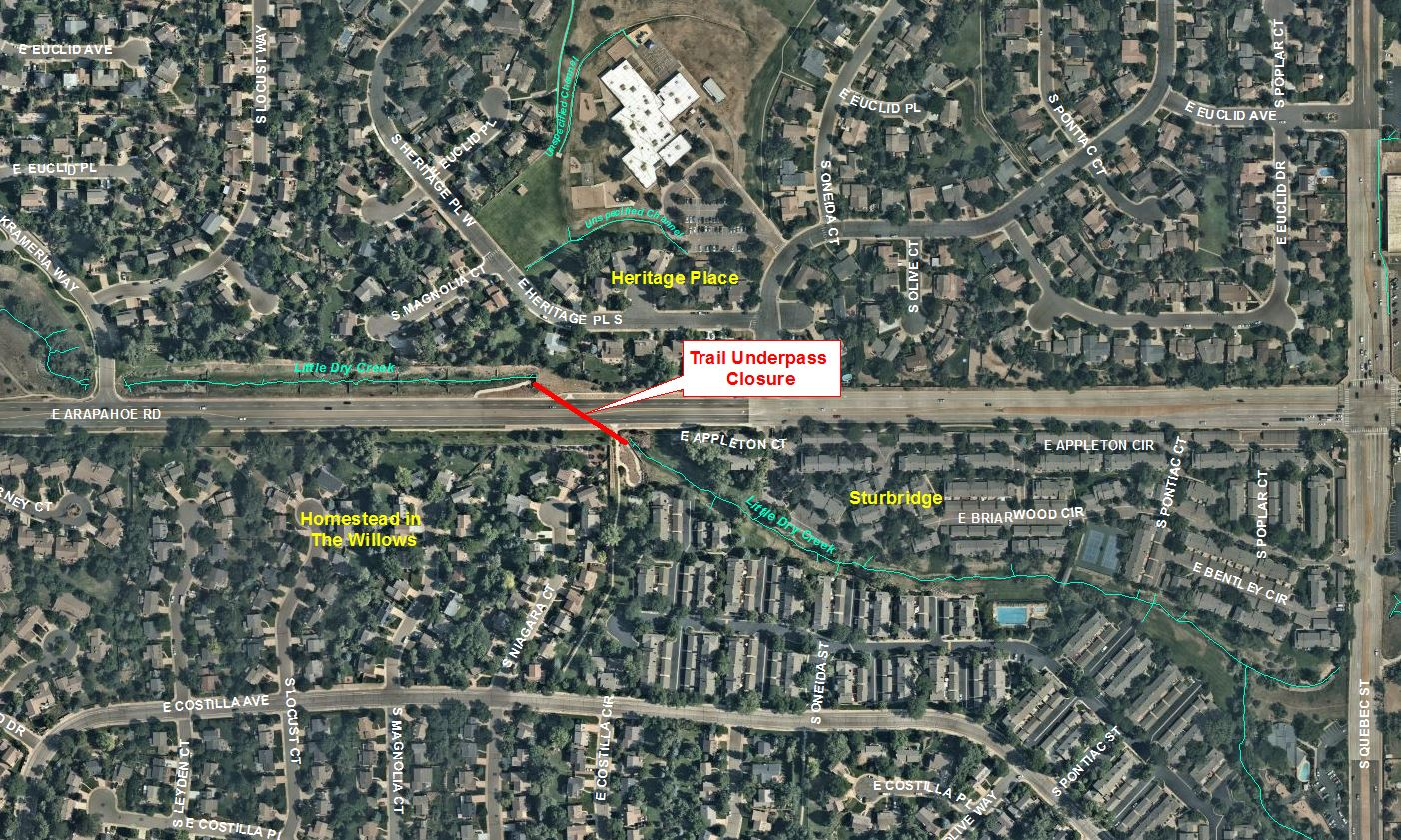 Trail Underpass Closure at Arapahoe Rd and Little Dry Creek